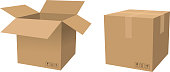 cardboard box container open and close