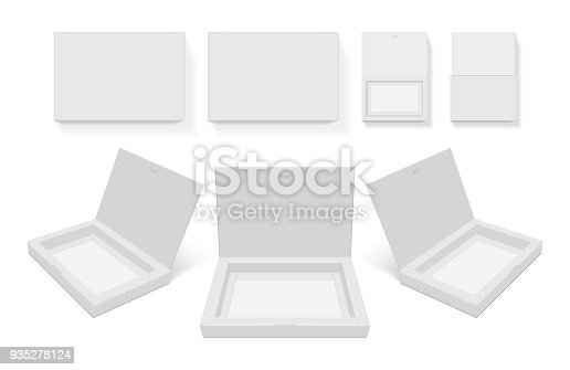 cardboard box open easy to change colors mock up vector template