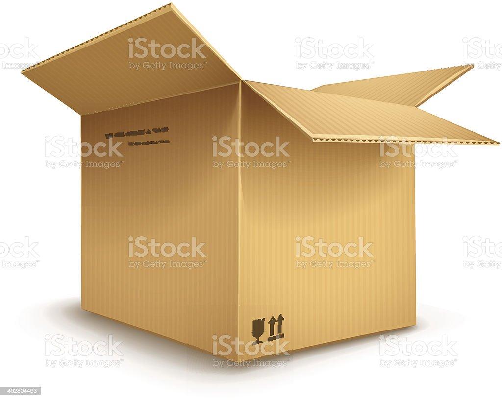 cardboard box opened vector art illustration