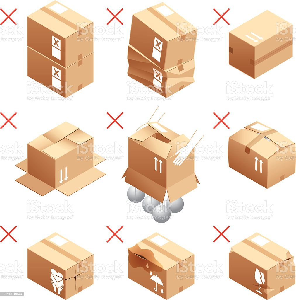 Cardboard box, packing, attention, prohibition vector art illustration
