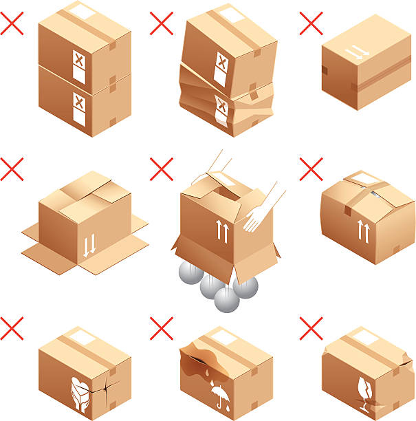 Cardboard box, packing, attention, prohibition Cardboard box, packing, attention, prohibition damaged stock illustrations