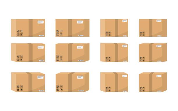 ilustraciones, imágenes clip art, dibujos animados e iconos de stock de conjunto de caja de cartón aislado sobre fondo blanco. ilustración de vector. - suministros escolares