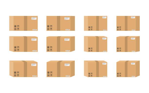 Conjunto de caja de cartón aislado sobre fondo blanco. Ilustración de vector. - ilustración de arte vectorial