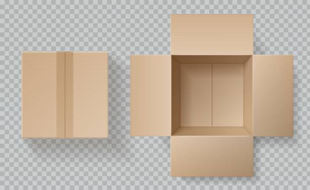 Cardboard box top view. Open closed boxes inside and top, brown pack mockup, delivery service realistic empty carton vector template Cardboard box top view. Open closed boxes inside and top, brown pack mockup, delivery service realistic empty carton vector packaging template package stock illustrations