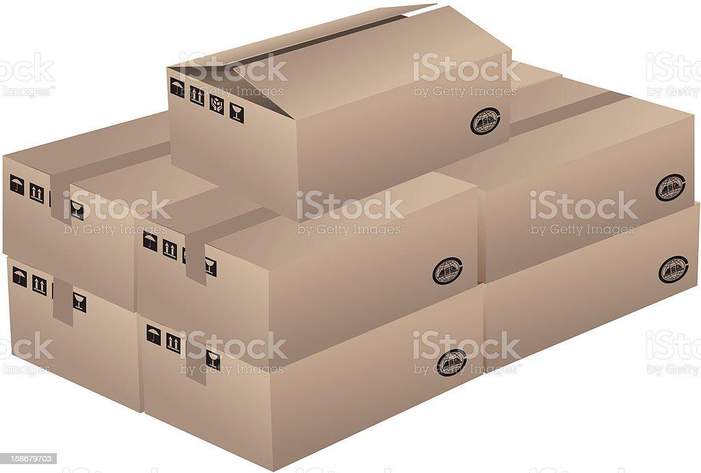 Cardboard box royalty-free cardboard box stock vector art & more images of black color