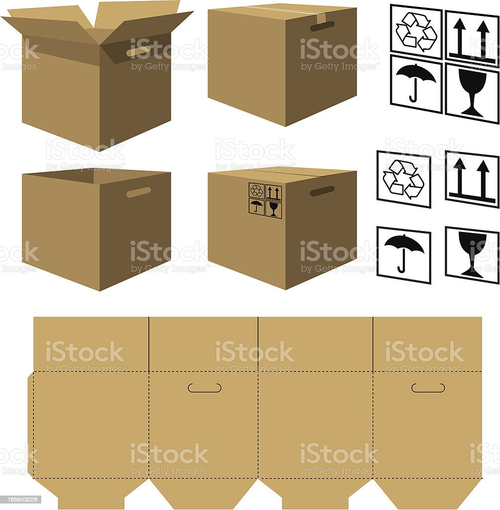 Cardboard box stock vector art 165643026 istock for How to make a letterbox out of cardboard