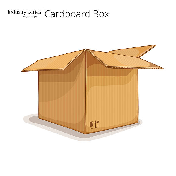 Cardboard Box. Abstract open Cardboard Box. Front perspective view. Vector EPS10. cardboard box stock illustrations