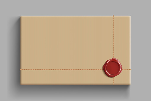 Cardboard box with a wax seal. Parcel template