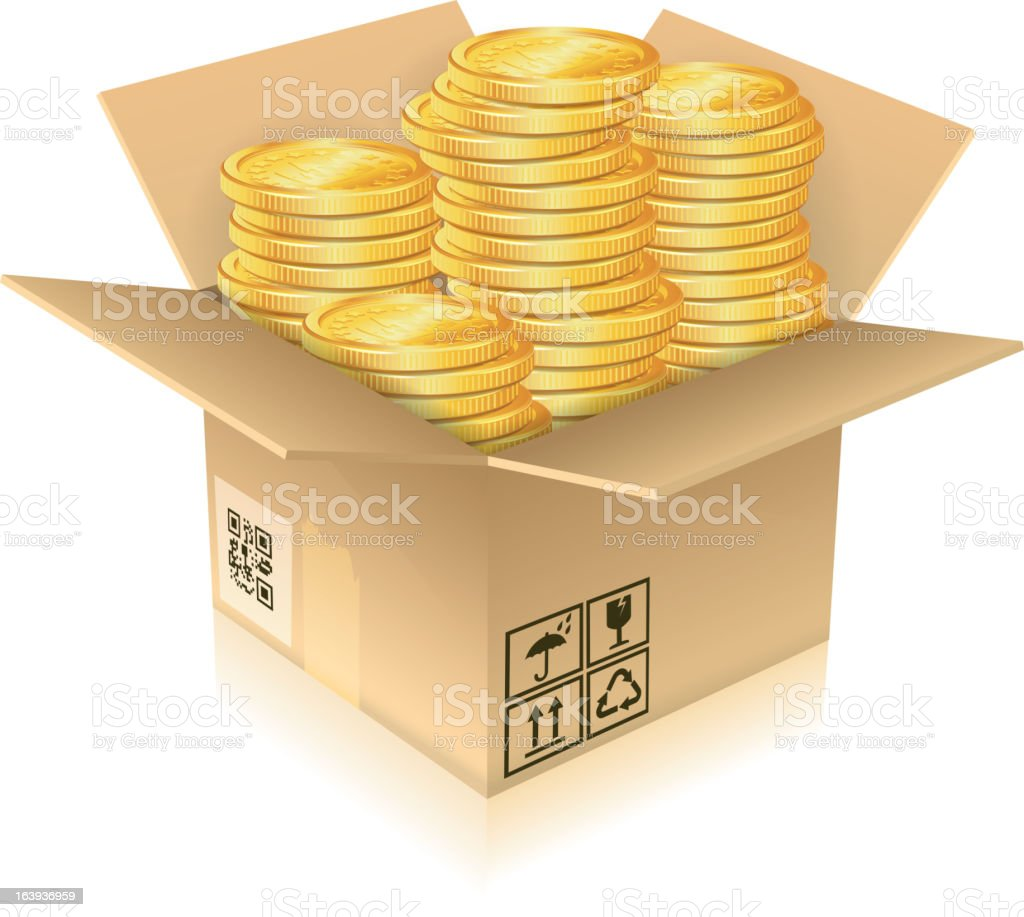 Cardboard Box with Gold Coins royalty-free stock vector art