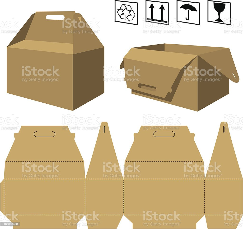 Cardboard box with handle vector art illustration