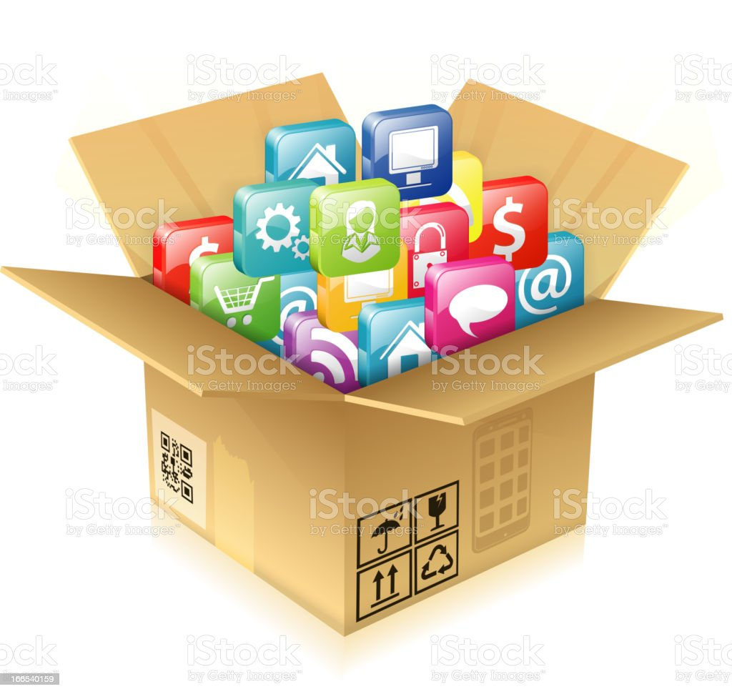 Cardboard Box with Set of Icons royalty-free stock vector art