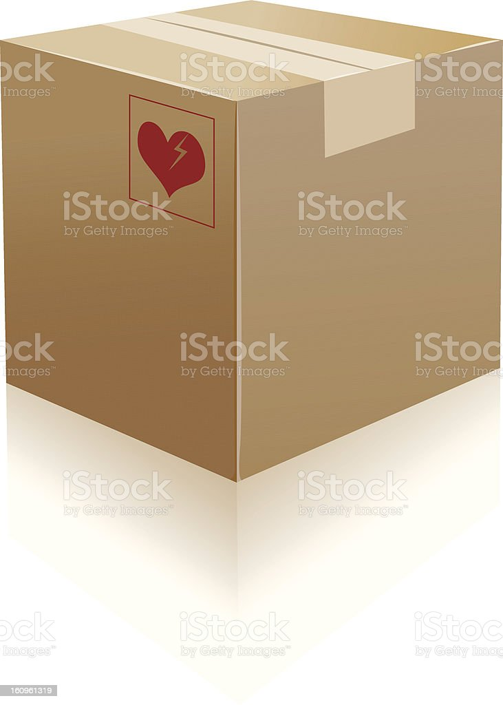 cardboard boxes and broken heart stuff royalty-free stock vector art