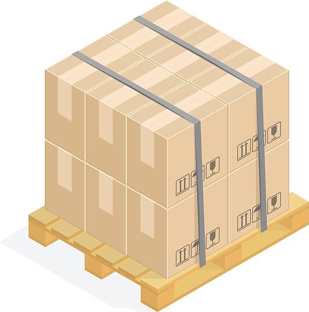 cardboard boxes and pallets. - frachtpaletten stock-grafiken, -clipart, -cartoons und -symbole