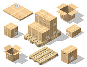 istock Cardboard boxes and wood pallet isometric set 938800322