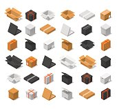 Cardboard Boxes Color Set Isometric View Various Shapes Of Packaging - Open, Close, Big And Small. Vector illustration