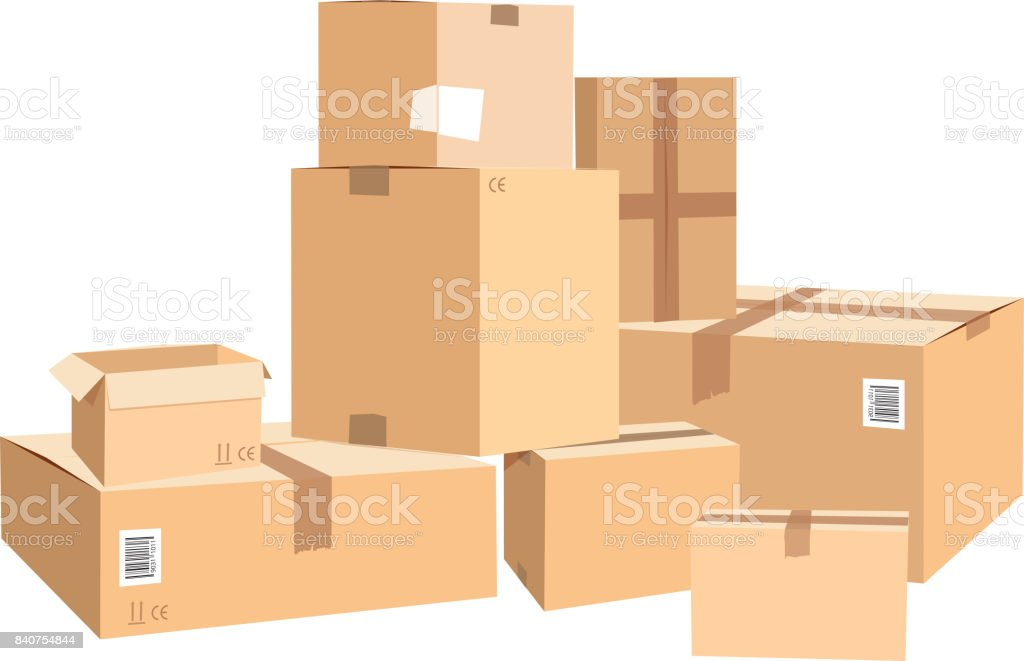 Cardboard boxes in different sizes. Packages isolated on white vector art illustration
