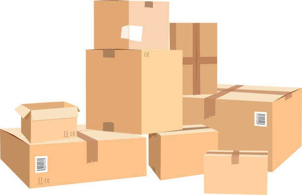 Cardboard boxes in different sizes. Packages isolated on white Cardboard boxes in different sizes. Packages isolated on white. Box package carton, container object for delivery and distribution illustration cardboard box stock illustrations