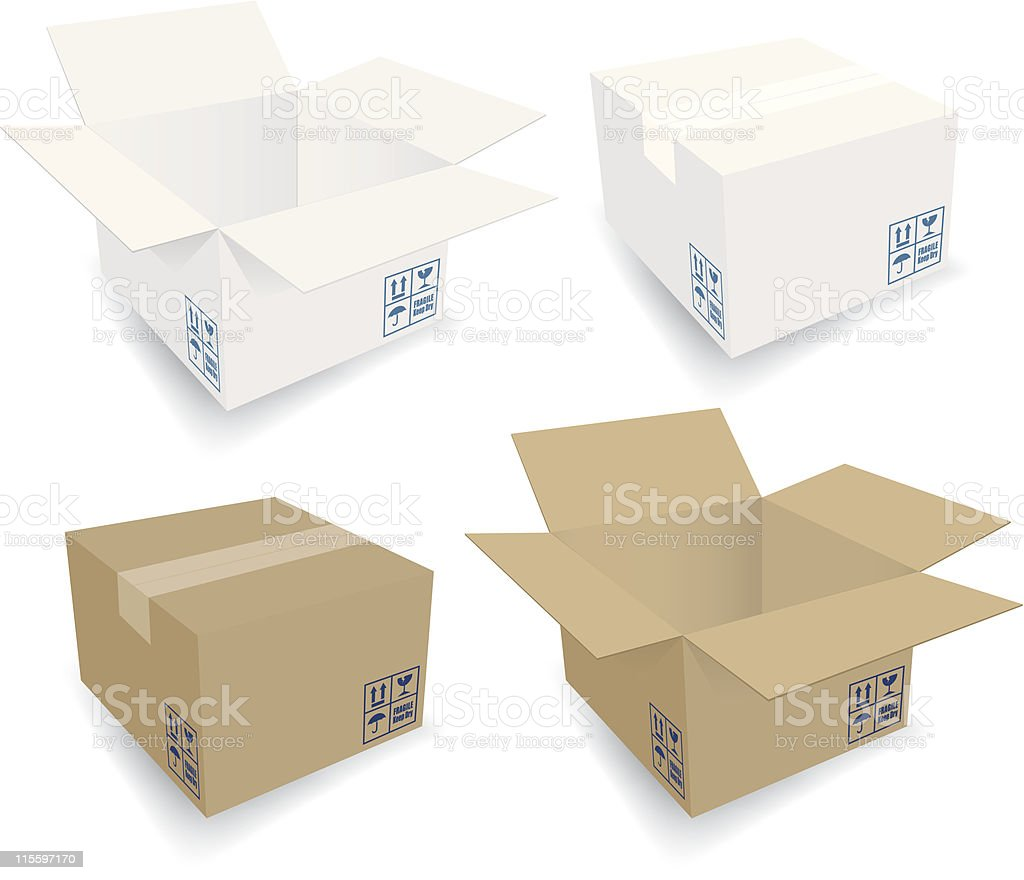 Cardboard Boxes - Open & Closed vector art illustration