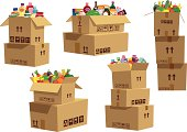 Five isolated and different stacks of cardboard boxes, with various goods and products in the top box of each stack of boxes.