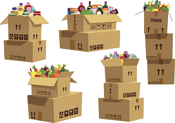 Cardboard boxes stacked with grocery goods Five isolated and different stacks of cardboard boxes, with various goods and products in the top box of each stack of boxes. cardboard box stock illustrations