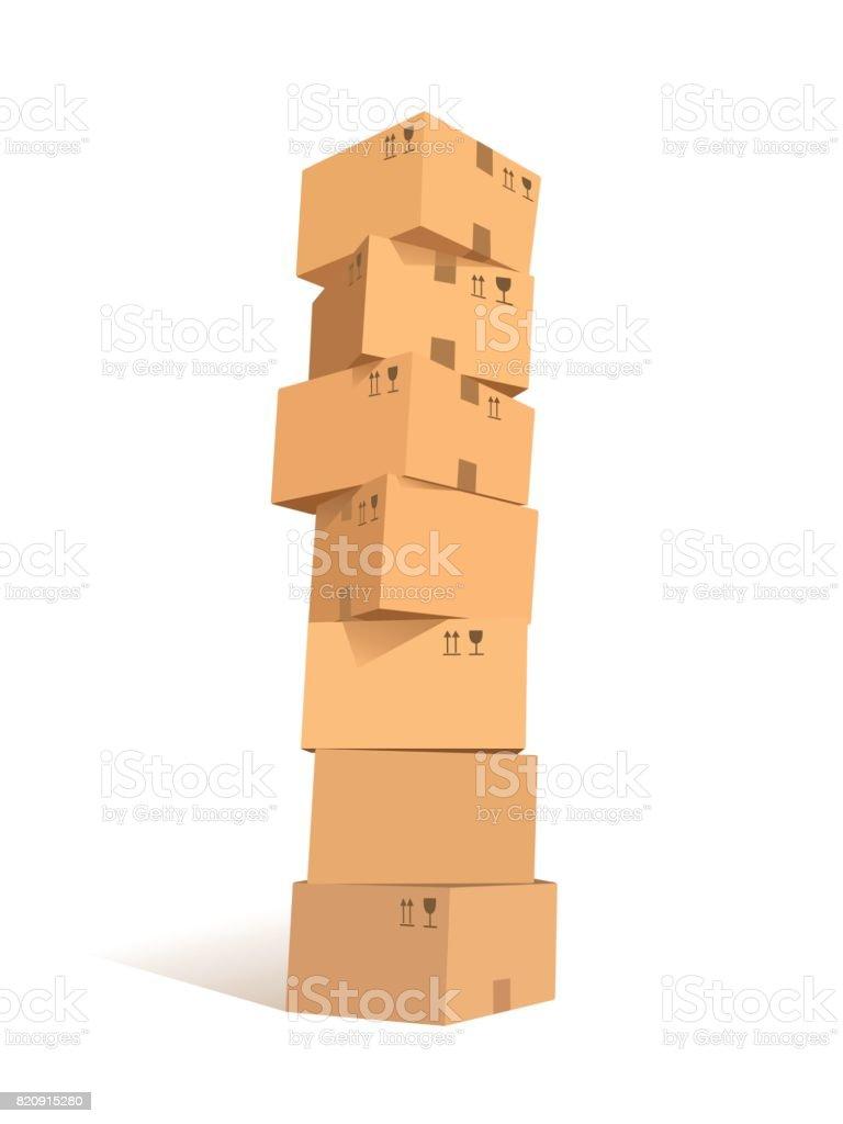 Cardboard boxes stacks vector art illustration
