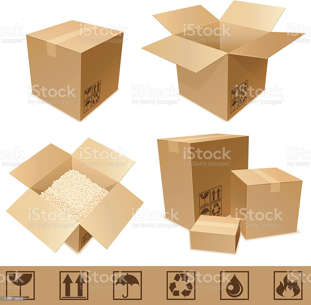 Cardboard boxes. vector art illustration
