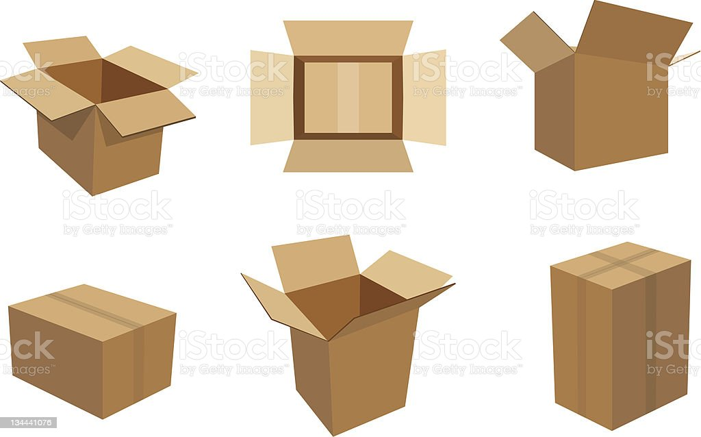 Cardboard Boxes vector art illustration