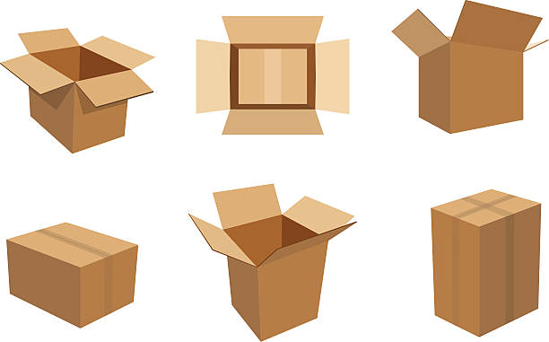 Cardboard Boxes A set of 6 different cardboard boxes in an editable vector file. cardboard box stock illustrations