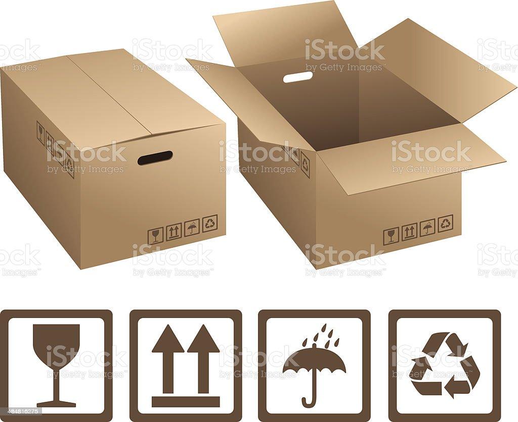 Cardboard boxes vector art illustration