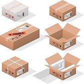 isometric cardboard cargo boxes.