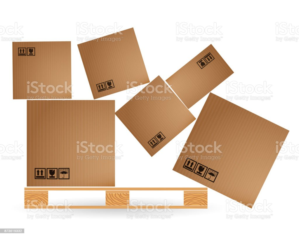 Cardboard Boxes With Cargo Fallen And Scattered On A Wooden Pallet Euro Pallets Warehouse