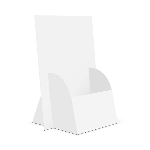 cardboard brochure display stand - karton zbiornik stock illustrations