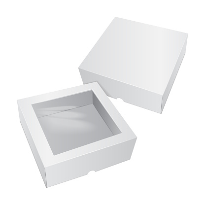 Cardboard Cake White Box. For Fast Food, Gift, etc. Carry Packaging. Template of package. Vector Mockup set