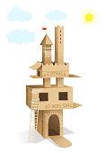 Cardboard Castle House Building