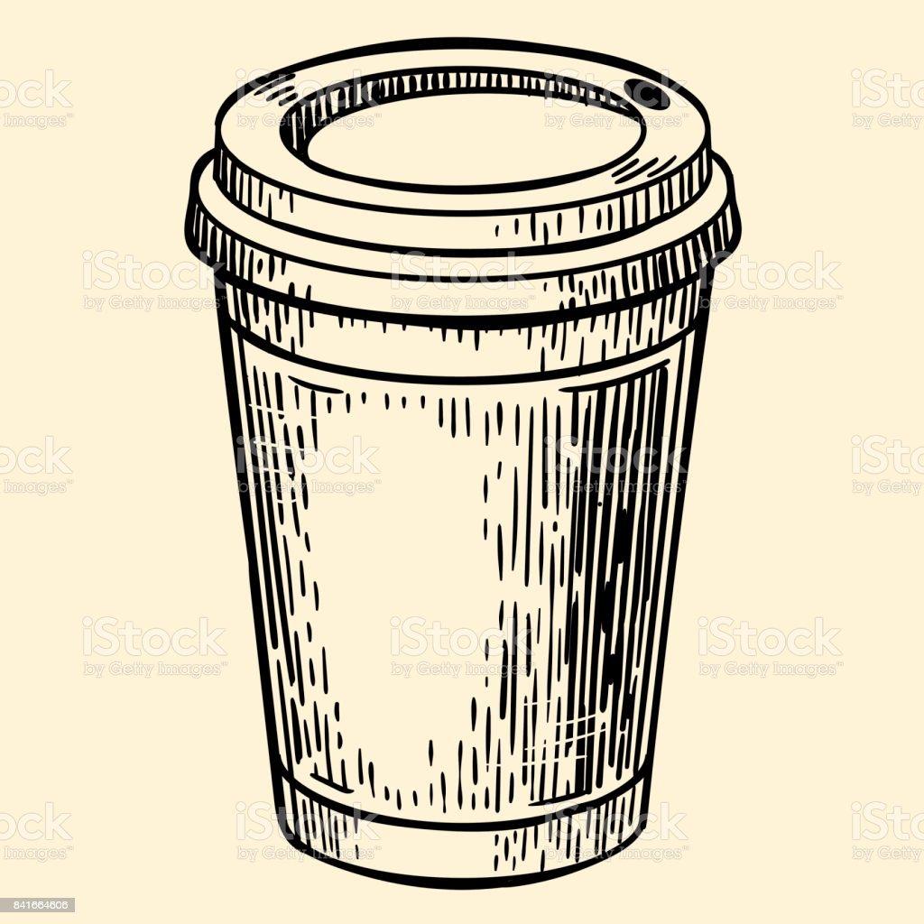Cardboard coffee cup. Vector illustration in sketch style vector art illustration