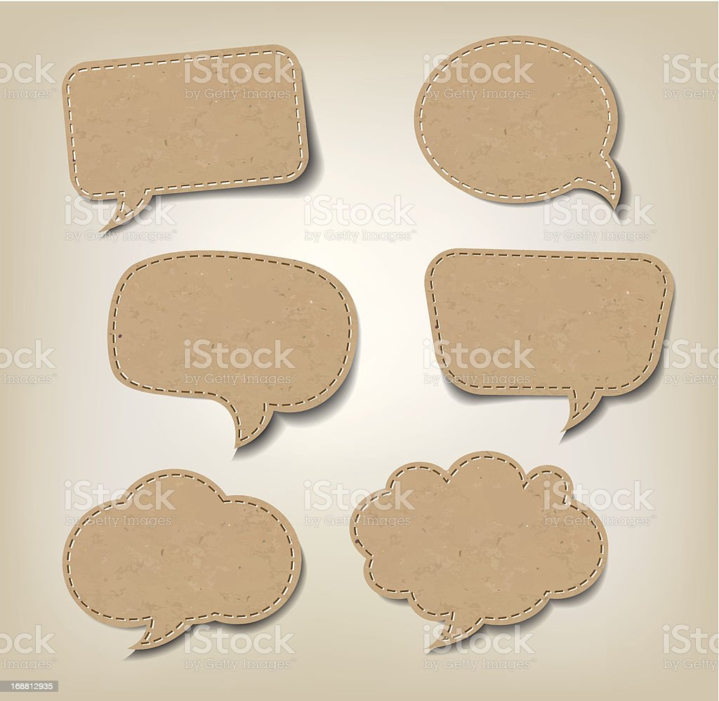 Cardboard Comic Speech Bubbles vector art illustration