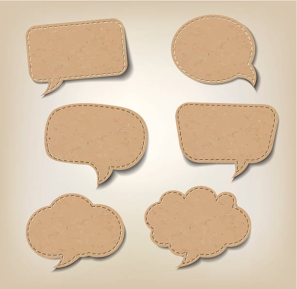 stockillustraties, clipart, cartoons en iconen met cardboard comic speech bubbles - karton