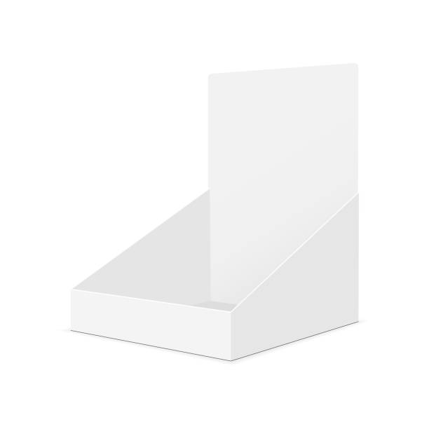 cardboard display box mockup - half-side view - wystawa sklepowa stock illustrations