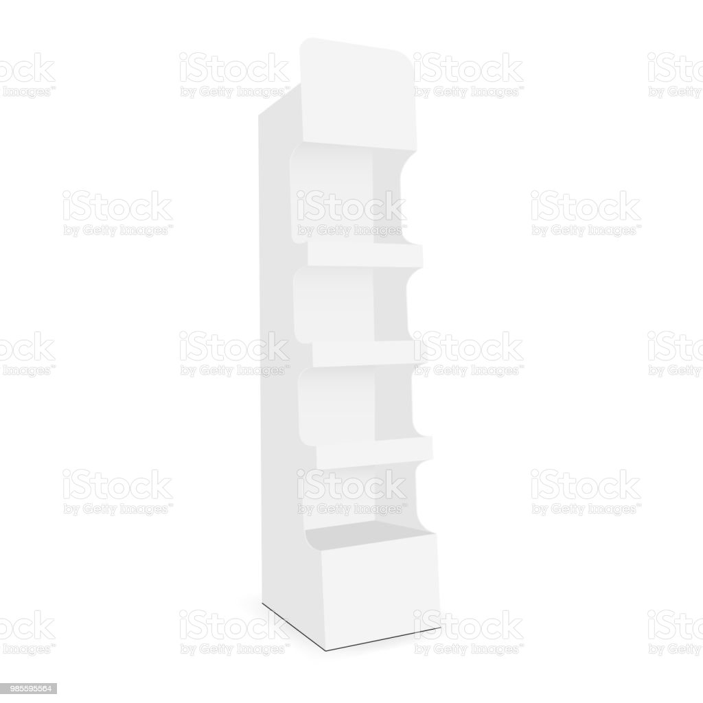 Cardboard display stand with 4 shelf vector art illustration