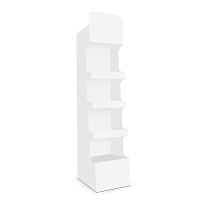 Présentoir En Carton Avec 4 Étagère Vecteurs libres de droits et plus d'images vectorielles de Blanc