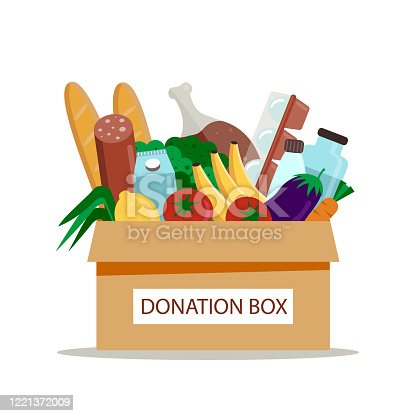 Cardboard donation box full of groceries. Help for poor people. Volunteering and charity concept. Vector illustration, flat style.