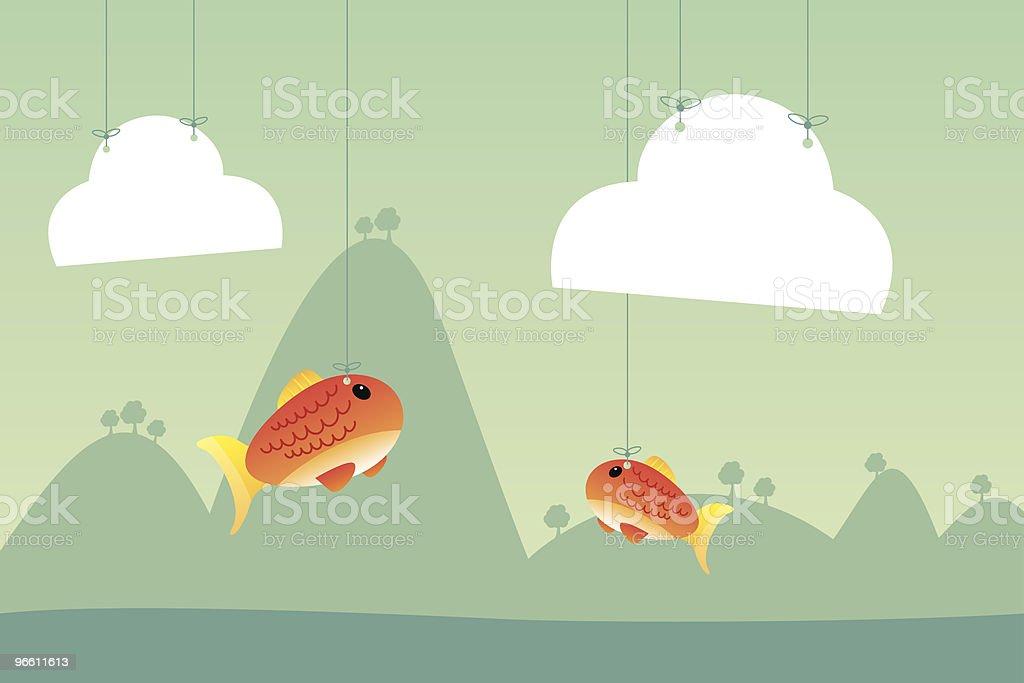 Cardboard fish vector art illustration