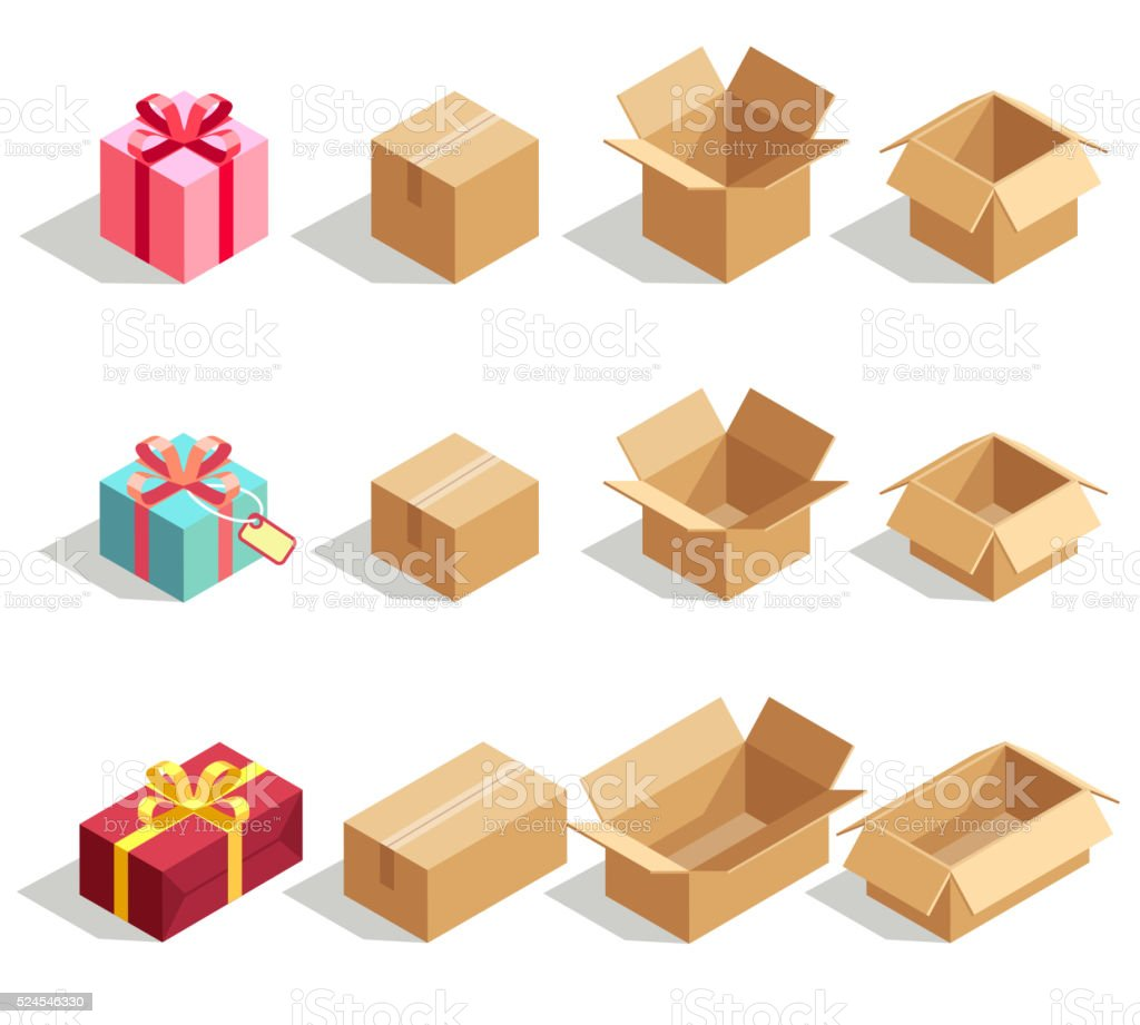 Cardboard gift boxes opened and closed. 3D isometric vector icons vector art illustration