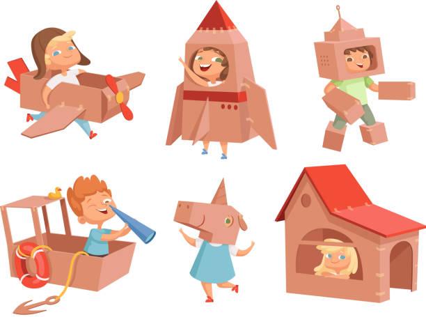 ilustrações, clipart, desenhos animados e ícones de miúdos do cartão que jogam. jogos das crianças com os recipientes de papel que fazem o carro do avião e enviam caráteres do vetor no estilo dos desenhos animados - brincadeira