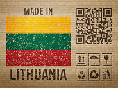 Cardboard made in Lithuania, textured background. Vector illustration.