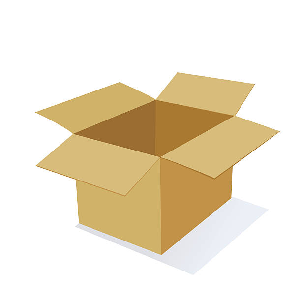 3D Cardboard Packing Box 3D Cardboard Moving or Packing Box with open top. flapping wings stock illustrations