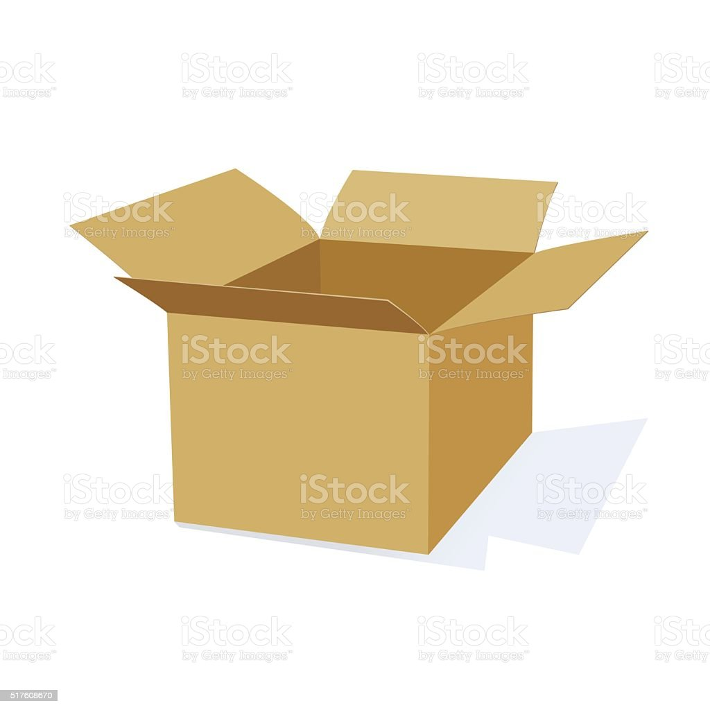 3D Cardboard Packing Box vector art illustration
