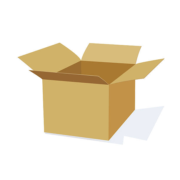3D Cardboard Packing Box 3D Cardboard Moving or Packing Box with open top. cardboard box stock illustrations