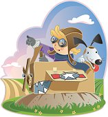 Vector cartoon illustration of young boy or girl playing in a cardboard box pretending to be flying an airplane.