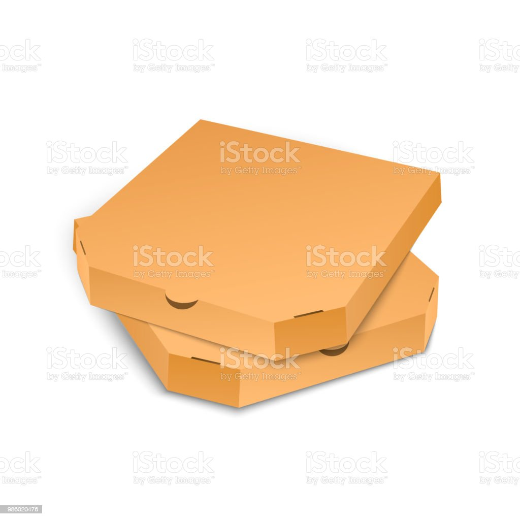 Cardboard Pizza Box Template Isolated On White Background Vector